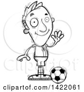 Clipart Of A Cartoon Black And White Lineart Doodled Male Soccer Player Waving Royalty Free Vector Illustration by Cory Thoman