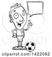 Clipart Of A Cartoon Black And White Lineart Doodled Male Soccer Player Holding Up A Finger And Talking Royalty Free Vector Illustration by Cory Thoman
