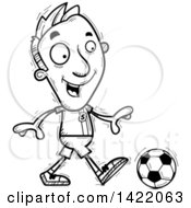 Clipart Of A Cartoon Black And White Lineart Doodled Male Soccer Player Walking Royalty Free Vector Illustration by Cory Thoman