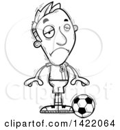 Clipart Of A Cartoon Black And White Lineart Doodled Depressed Male Soccer Player Royalty Free Vector Illustration by Cory Thoman