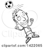 Clipart Of A Cartoon Black And White Lineart Doodled Male Soccer Player Jumping And Bouncing A Ball Off Of His Head Royalty Free Vector Illustration by Cory Thoman