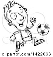 Clipart Of A Cartoon Black And White Lineart Doodled Male Soccer Player Running Royalty Free Vector Illustration by Cory Thoman