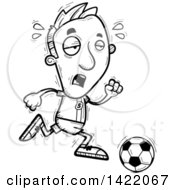 Clipart Of A Cartoon Black And White Lineart Doodled Exhausted Male Soccer Player Running Royalty Free Vector Illustration by Cory Thoman