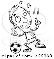Clipart Of A Cartoon Black And White Lineart Doodled Male Soccer Player Dancing To Music Royalty Free Vector Illustration by Cory Thoman