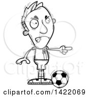 Clipart Of A Cartoon Black And White Lineart Doodled Male Soccer Player Angrily Pointing The Finger Royalty Free Vector Illustration