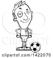 Clipart Of A Cartoon Black And White Lineart Doodled Confident Male Soccer Player With Hands On His Hips Royalty Free Vector Illustration by Cory Thoman