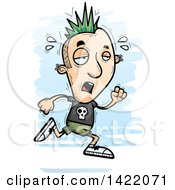 Clipart Of A Cartoon Doodled Exhausted Punk Dude Running Royalty Free Vector Illustration
