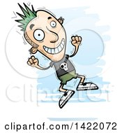 Clipart Of A Cartoon Doodled Punk Dude Jumping For Joy Royalty Free Vector Illustration by Cory Thoman