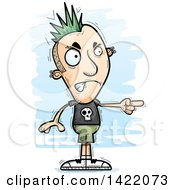 Clipart Of A Cartoon Doodled Punk Dude Angrily Pointing The Finger Royalty Free Vector Illustration