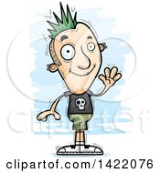 Clipart Of A Cartoon Doodled Punk Dude Waving Royalty Free Vector Illustration by Cory Thoman