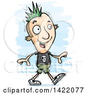Clipart Of A Cartoon Doodled Punk Dude Walking Royalty Free Vector Illustration by Cory Thoman