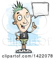 Clipart Of A Cartoon Doodled Punk Dude Holding Up A Finger And Talking Royalty Free Vector Illustration