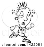Clipart Of A Cartoon Black And White Lineart Doodled Exhausted Punk Dude Running Royalty Free Vector Illustration by Cory Thoman