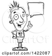 Clipart Of A Cartoon Black And White Lineart Doodled Punk Dude Holding Up A Finger And Talking Royalty Free Vector Illustration