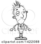 Clipart Of A Cartoon Black And White Lineart Doodled Depressed Punk Dude Royalty Free Vector Illustration by Cory Thoman