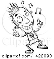 Clipart Of A Cartoon Black And White Lineart Doodled Punk Dude Dancing To Music Royalty Free Vector Illustration by Cory Thoman