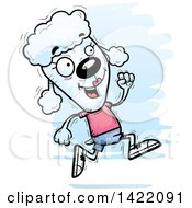 Cartoon Doodled Female Poodle Running