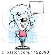 Clipart Of A Cartoon Doodled Female Poodle Holding Up A Finger And Talking Royalty Free Vector Illustration by Cory Thoman