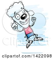 Clipart Of A Cartoon Doodled Female Poodle Jumping For Joy Royalty Free Vector Illustration by Cory Thoman