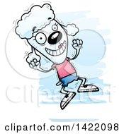 Cartoon Doodled Female Poodle Jumping For Joy