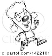 Cartoon Black And White Lineart Doodled Female Poodle Running