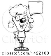 Clipart Of A Cartoon Black And White Lineart Doodled Female Poodle Holding Up A Finger And Talking Royalty Free Vector Illustration