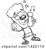Cartoon Black And White Lineart Doodled Female Poodle Dancing To Music
