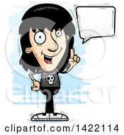 Clipart Of A Cartoon Doodled Metal Head Guy Holding Up A Finger And Talking Royalty Free Vector Illustration