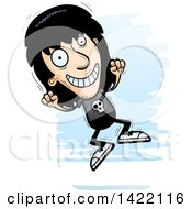 Clipart Of A Cartoon Doodled Metal Head Guy Jumping For Joy Royalty Free Vector Illustration