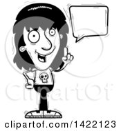 Clipart Of A Cartoon Black And White Lineart Doodled Metal Head Guy Holding Up A Finger And Talking Royalty Free Vector Illustration