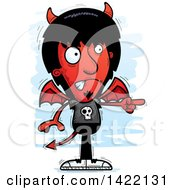 Clipart Of A Cartoon Doodled Devil Angrily Pointing The Finger Royalty Free Vector Illustration