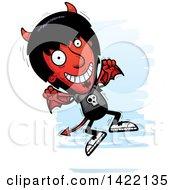Clipart Of A Cartoon Doodled Devil Jumping For Joy Royalty Free Vector Illustration