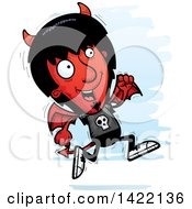 Clipart Of A Cartoon Doodled Devil Running Royalty Free Vector Illustration by Cory Thoman
