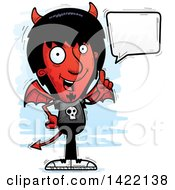 Clipart Of A Cartoon Doodled Devil Holding Up A Finger And Talking Royalty Free Vector Illustration