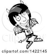 Clipart Of A Cartoon Black And White Lineart Doodled Devil Jumping For Joy Royalty Free Vector Illustration
