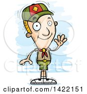 Clipart Of A Cartoon Doodled Boy Scout Waving Royalty Free Vector Illustration