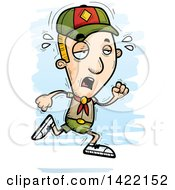 Clipart Of A Cartoon Doodled Exhausted Boy Scout Running Royalty Free Vector Illustration by Cory Thoman