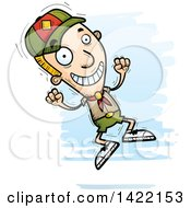 Clipart Of A Cartoon Doodled Boy Scout Jumping For Joy Royalty Free Vector Illustration by Cory Thoman