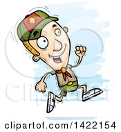 Clipart Of A Cartoon Doodled Boy Scout Running Royalty Free Vector Illustration by Cory Thoman