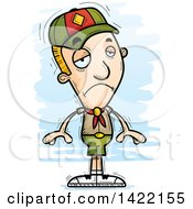 Clipart Of A Cartoon Doodled Depressed Boy Scout Royalty Free Vector Illustration by Cory Thoman