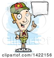 Clipart Of A Cartoon Doodled Boy Scout Holding Up A Finger And Talking Royalty Free Vector Illustration