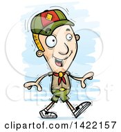 Clipart Of A Cartoon Doodled Boy Scout Walking Royalty Free Vector Illustration by Cory Thoman
