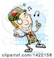 Clipart Of A Cartoon Doodled Boy Scout Dancing To Music Royalty Free Vector Illustration by Cory Thoman
