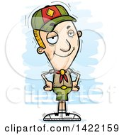 Clipart Of A Cartoon Doodled Confident Boy Scout With Hands On His Hips Royalty Free Vector Illustration by Cory Thoman
