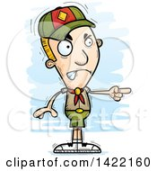 Clipart Of A Cartoon Doodled Boy Scout Angrily Pointing The Finger Royalty Free Vector Illustration
