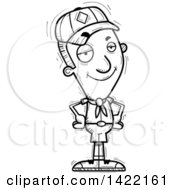 Clipart Of A Cartoon Black And White Lineart Doodled Confident Boy Scout With Hands On His Hips Royalty Free Vector Illustration