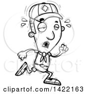 Clipart Of A Cartoon Black And White Lineart Doodled Exhausted Boy Scout Running Royalty Free Vector Illustration