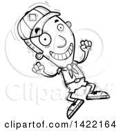 Clipart Of A Cartoon Black And White Lineart Doodled Boy Scout Jumping For Joy Royalty Free Vector Illustration by Cory Thoman