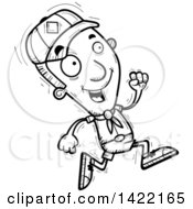 Clipart Of A Cartoon Black And White Lineart Doodled Boy Scout Running Royalty Free Vector Illustration by Cory Thoman