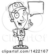 Clipart Of A Cartoon Black And White Lineart Doodled Boy Scout Holding Up A Finger And Talking Royalty Free Vector Illustration